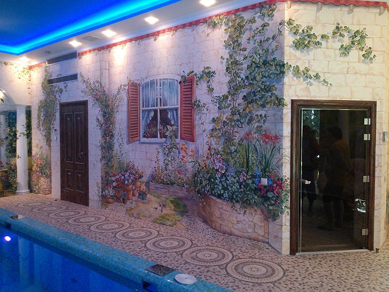 Художественная роспись бассейна